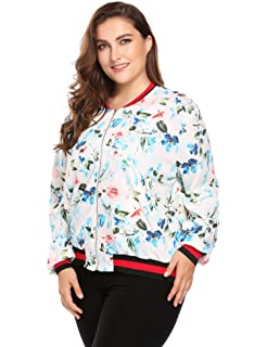 8d2c00c78d2 IN VOLAND Womens Plus Size Short Bomber Jacket Floral Print Baseball Jacket  Quilted Jacket Coat
