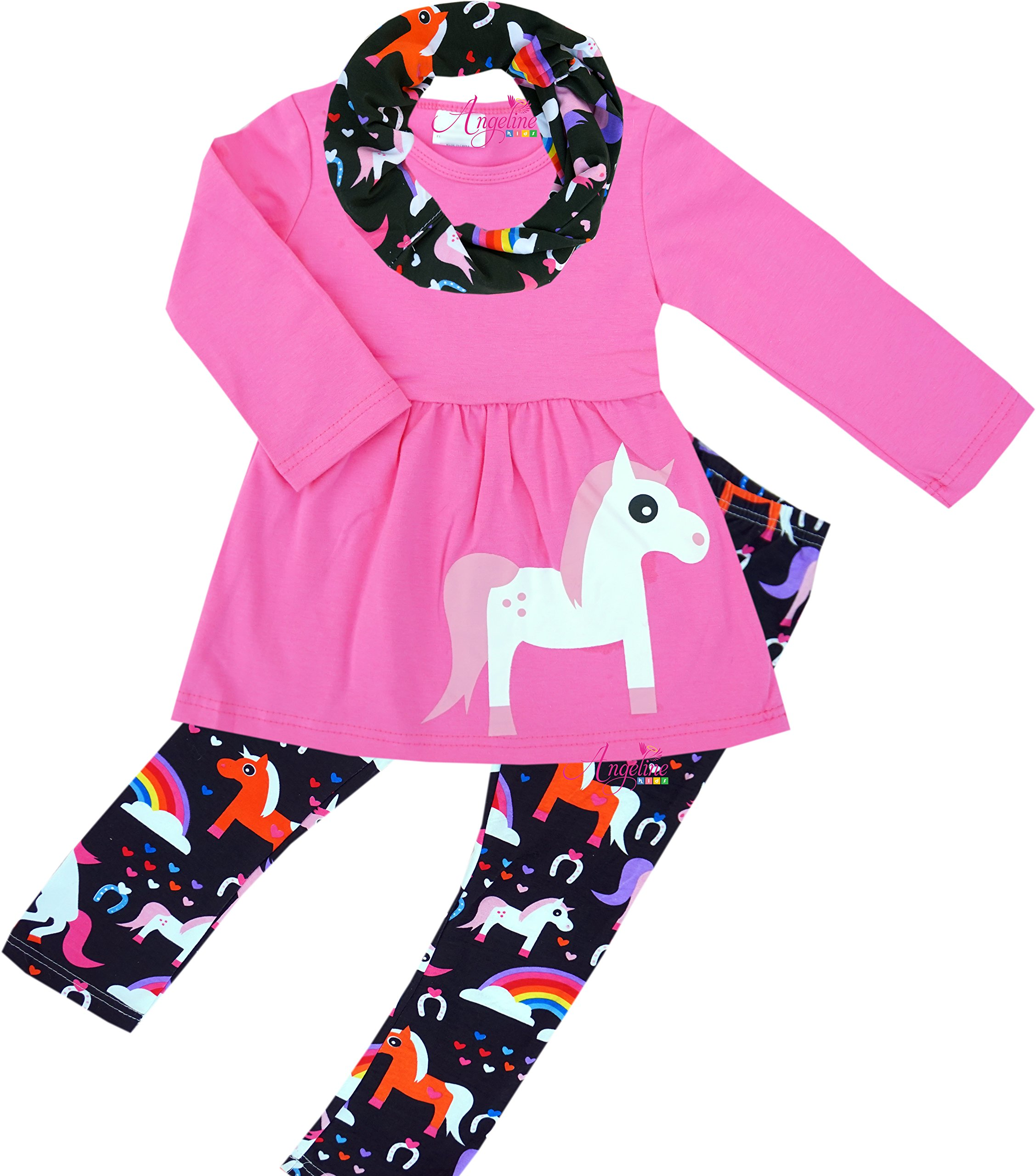 Boutique Clothing Girls Winter Fall Spring Cowgirls Unicorn Scart Set Pink 8T/3XL by Angeline (Image #1)