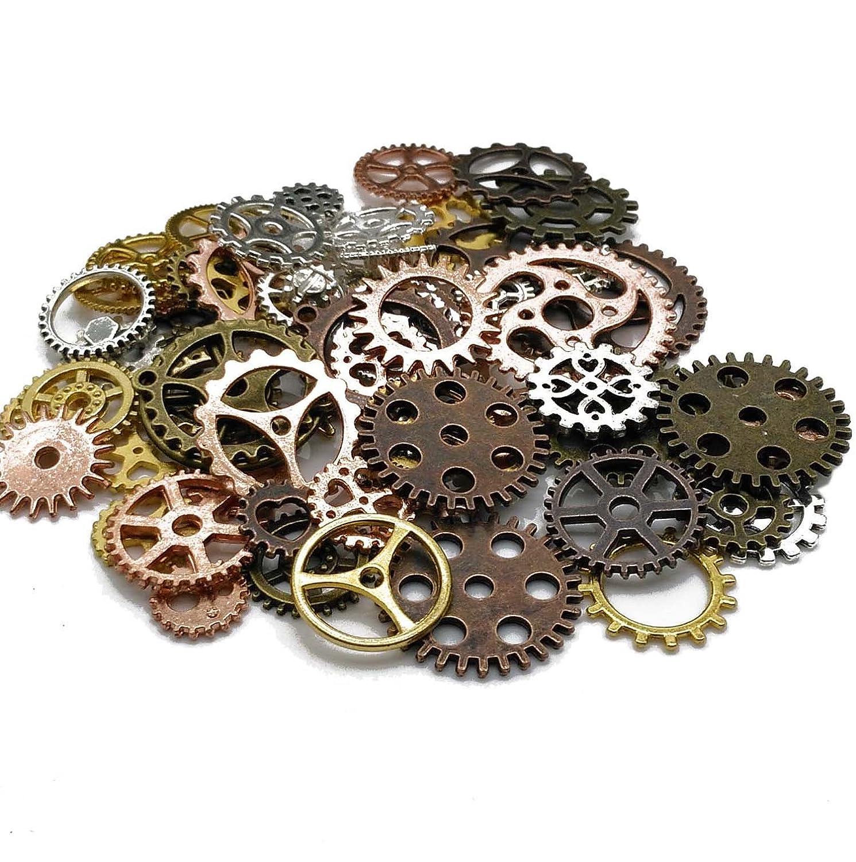 Diy Assorted Color Antique Metal Steampunk Gears  Pendan Approx 80Pcs 100 Gram