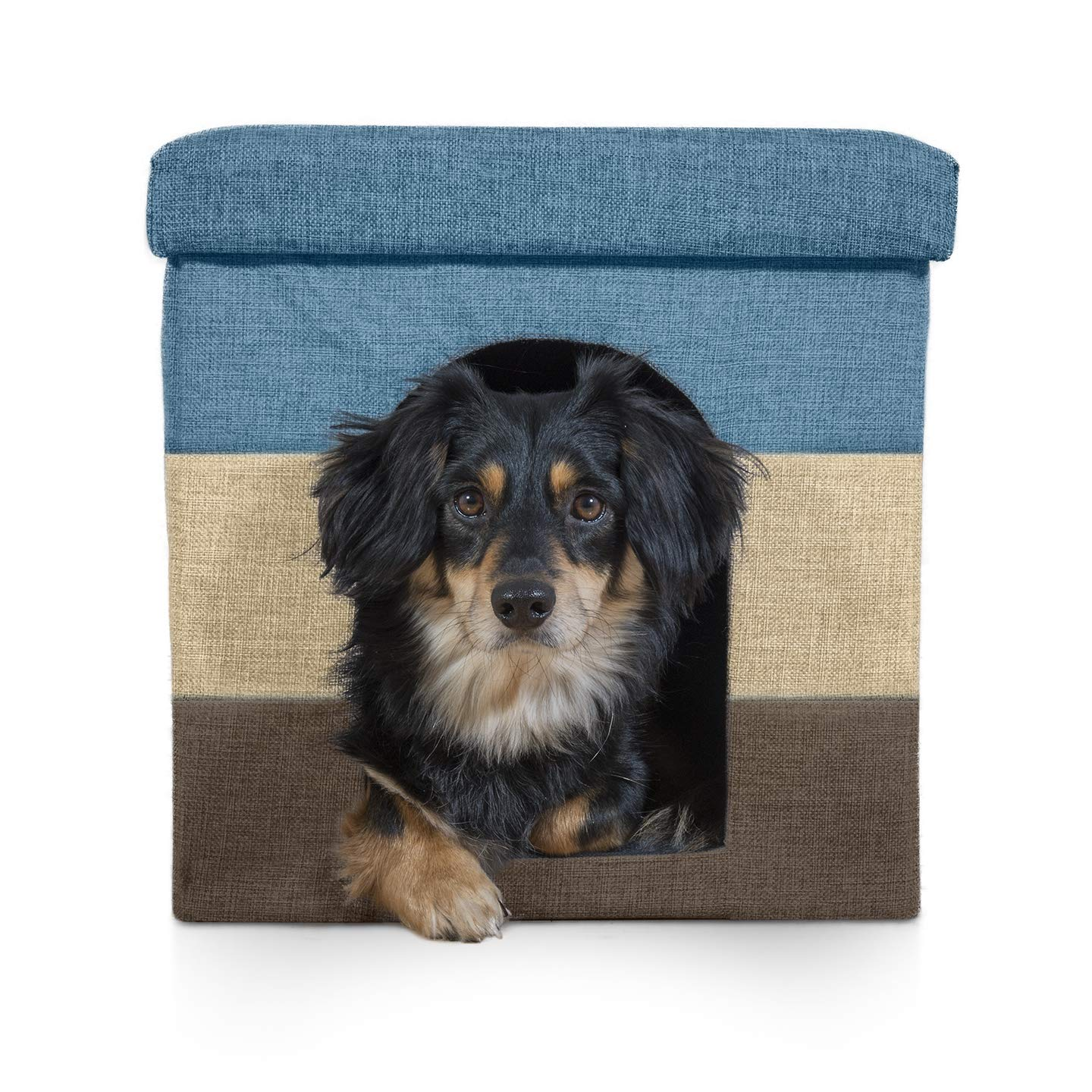 Ottoman Footstool Collapsible Pet Condo for Cats /& Small Dogs Furhaven Pet Dog Bed /& Cat Bed House Hygge Stripe Gray /& Cream Large