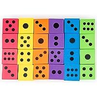 Paquete Jumbo de 24 Dados de Espuma - 6 Colores Surtidos - Ideales para juegos de mesa, articulos de cumpleaños - Artículos educativos y más. Relleno piñata, niños fiesta regalo juguetes bolsas