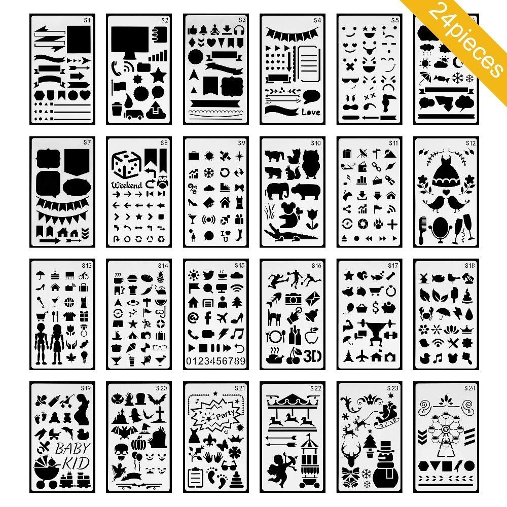 Ronghui 24pcs Plastic Bullet Journal Stencils Set with Flannel Storage Bag - Planner Stencils for Journal/Notebook/Diary/Scrapbook/Art Craft Projects/Schedule Book DIY Drawing Template