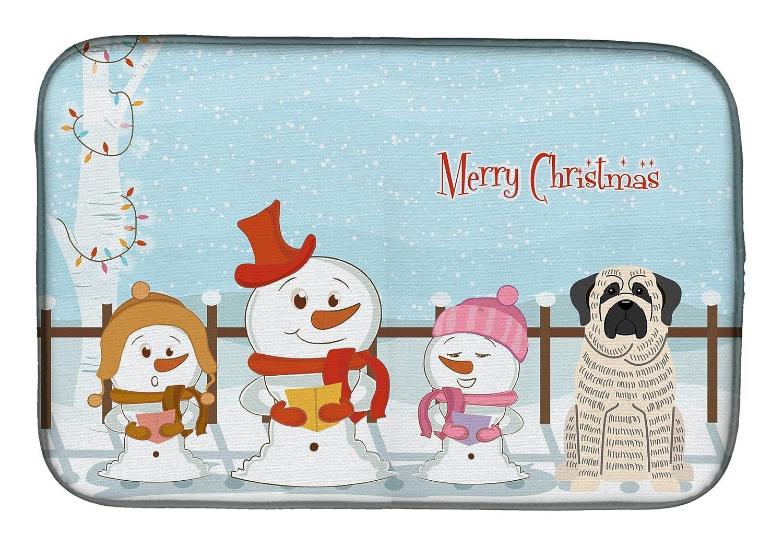 Caroline 's Treasures bb2347ddm Merry Christmas Carolers Mastiffブリンドルホワイトディッシュ乾燥マット、14 x 21、マルチカラー   B07BQD7MNN