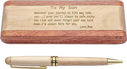 Estuche para bolígrafos de madera grabada, bolígrafo de firma clásico con funda, 100% hecho a
