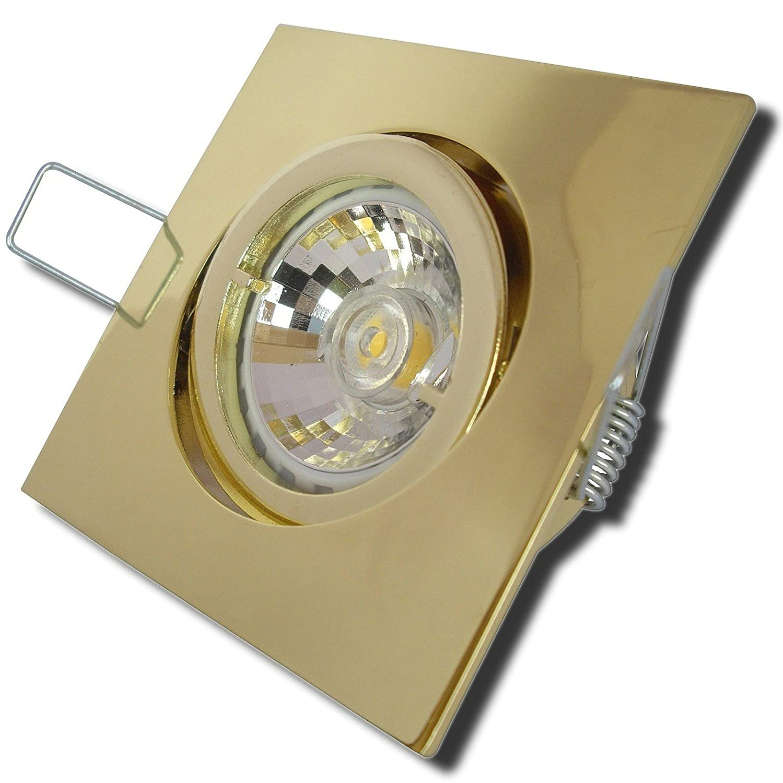 5 Stück MCOB Modul Einbauleuchte Luisa 230 Volt 5 Watt Schwenkbar Gold Warmweiß