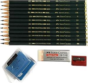 Faber-Castell 9000 Art Graphite Sketch Best Gifts Wood Pencil Sets 12 Counts With 12 Degree of Hardness (2H, H, F, HB.) + 1 Kneaded Art Eraser + 1 Large Dust Free Eraser + 1 Faber Sharpener