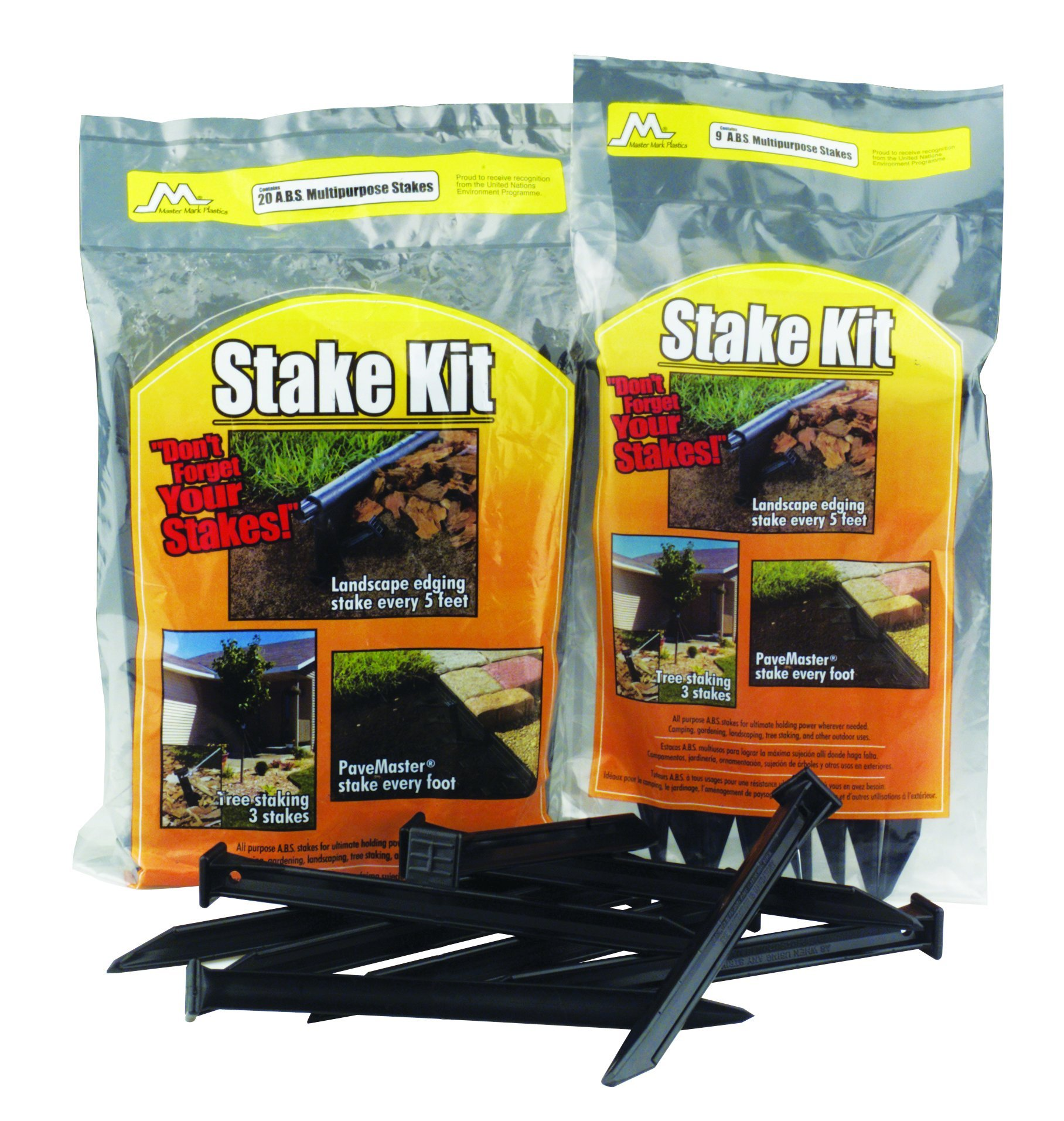 Master Mark Plastics 12120 ABS Plastic Stake Anchors For Landscape Edging 10 Inch, 20 Pack