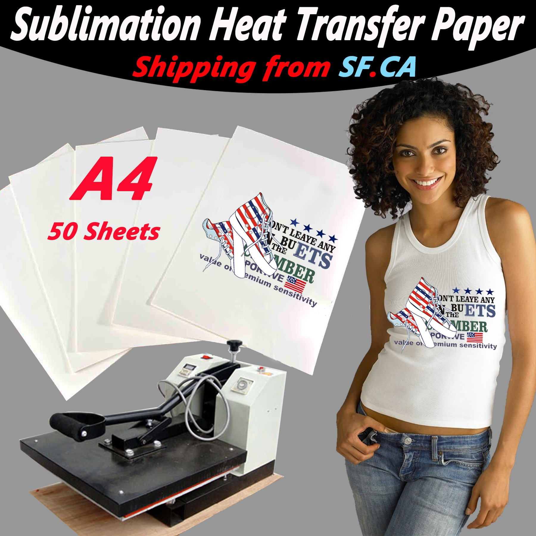 (A4 50 Sheets) Heat Press Transfer Premium Sublimation Ink Inkjet Paper for Light Color T-Shirt