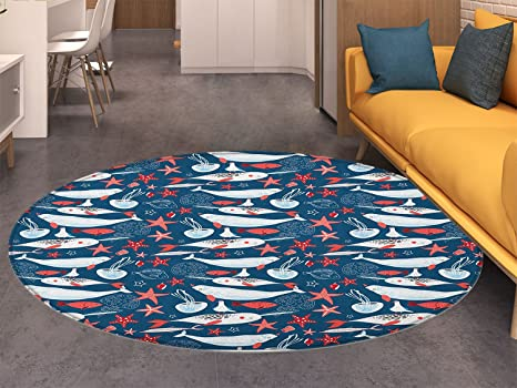 Amazon.com: Narwhal Round Rugs for Bedroom Arctic Ocean ...