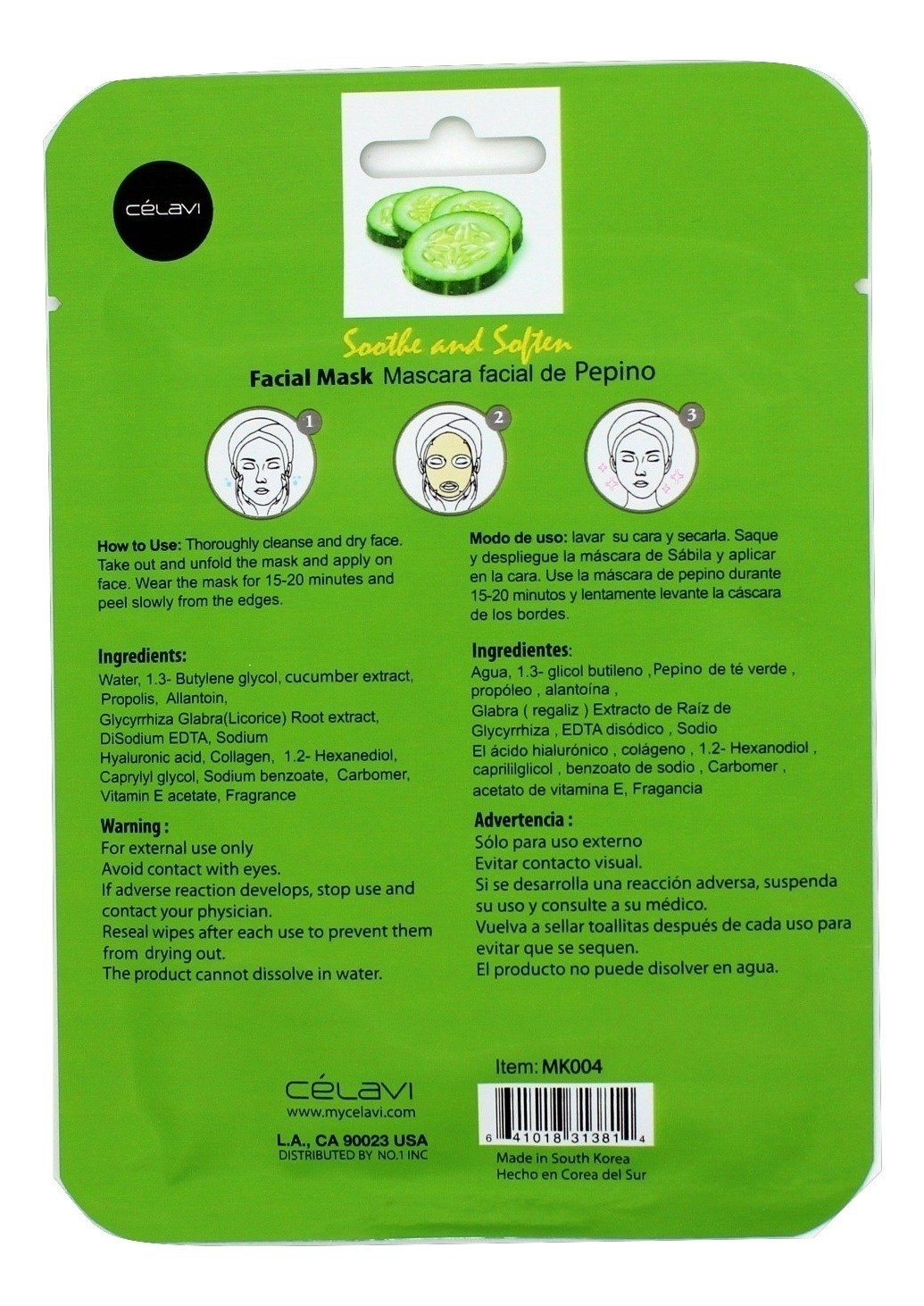 Amazon.com : Celavi Essence Facial Mask Paper Sheet Korea Skin Care Moisturizing 12 Pack (Cucumber) : Beauty