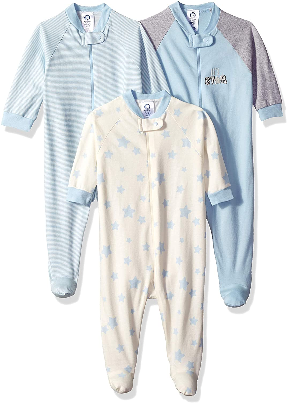 Gerber Baby Boys 2 Pack Organic Cotton Sleep N Plays Various Sizes Rocket Stars