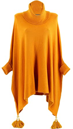Poncho Charleselie94® Pull Long Hiver Grande Taille Pompons zqSMpLGUV