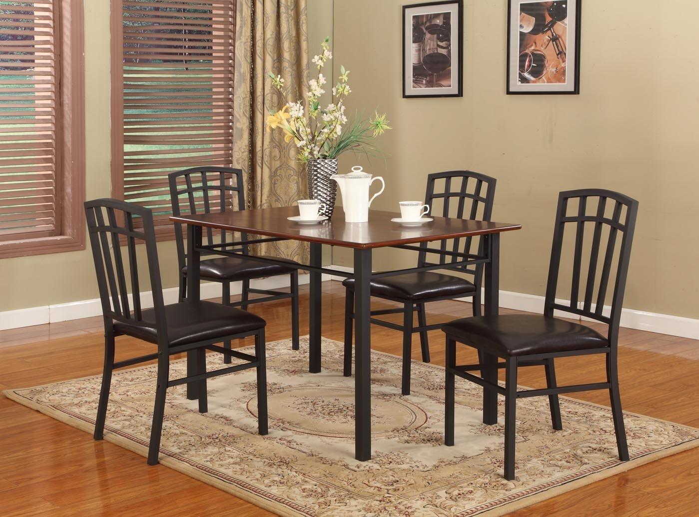 Amazon 5 PC Black Walnut Finish Wood & Metal Dining Room