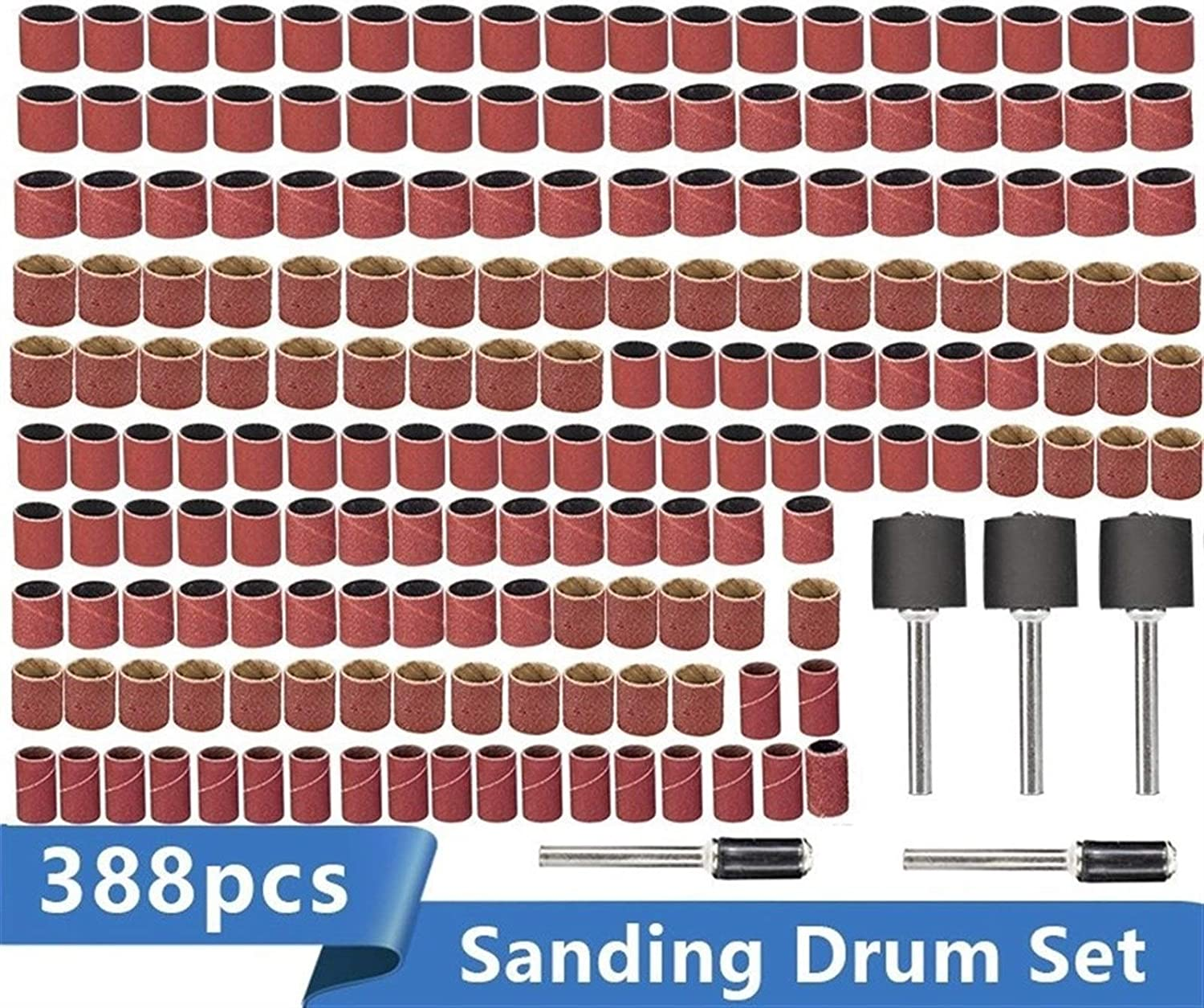 SHENYUAN Sanding Drum Kit 338pcs #60#120#320 Sanding Band with 3/8 1/4 1/2 Rubber Mandrel for Dremel Electric Mill Rotary Tools (Color : 388pcs Set with Box) 388pcs Set