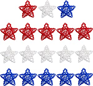 STMK 18 Pcs 4th of July Star Shaped Rattan Balls Decoration, 2.36 Inch Red White and Blue Star Shaped Wicker Balls for 4th of July Home Decor DIY Vase Bowl Filler Ornament Wedding Table Decoration