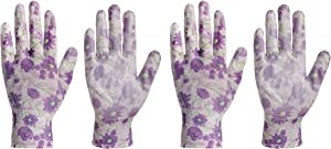 Perfect Small Nitrile Women Gardening Washable Gloves - Pack of 2 - Heavy Duty Medium Cute Landscape Gloves for Garden Working