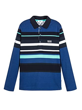 b647b393 Hugo Boss Boys Electric Blue Striped Jersey Polo Shirt 10Y: Amazon.co.uk:  Clothing