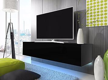 Tv Schrank Lowboard Hangeboard Simple Mit Led Blau Schwarz Matt Schwarz Hochglanz 160 Cm