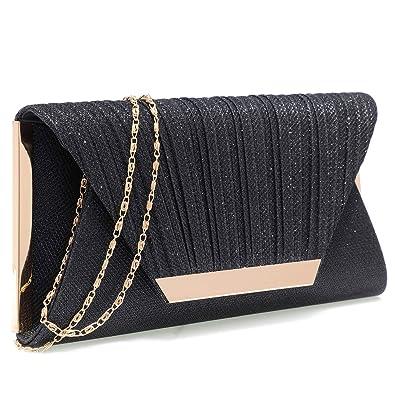 c0282966dda Clutch Evening Bag Elegant Pleated Satin Formal Handbag Simple Classy Purse  for Women(Black)
