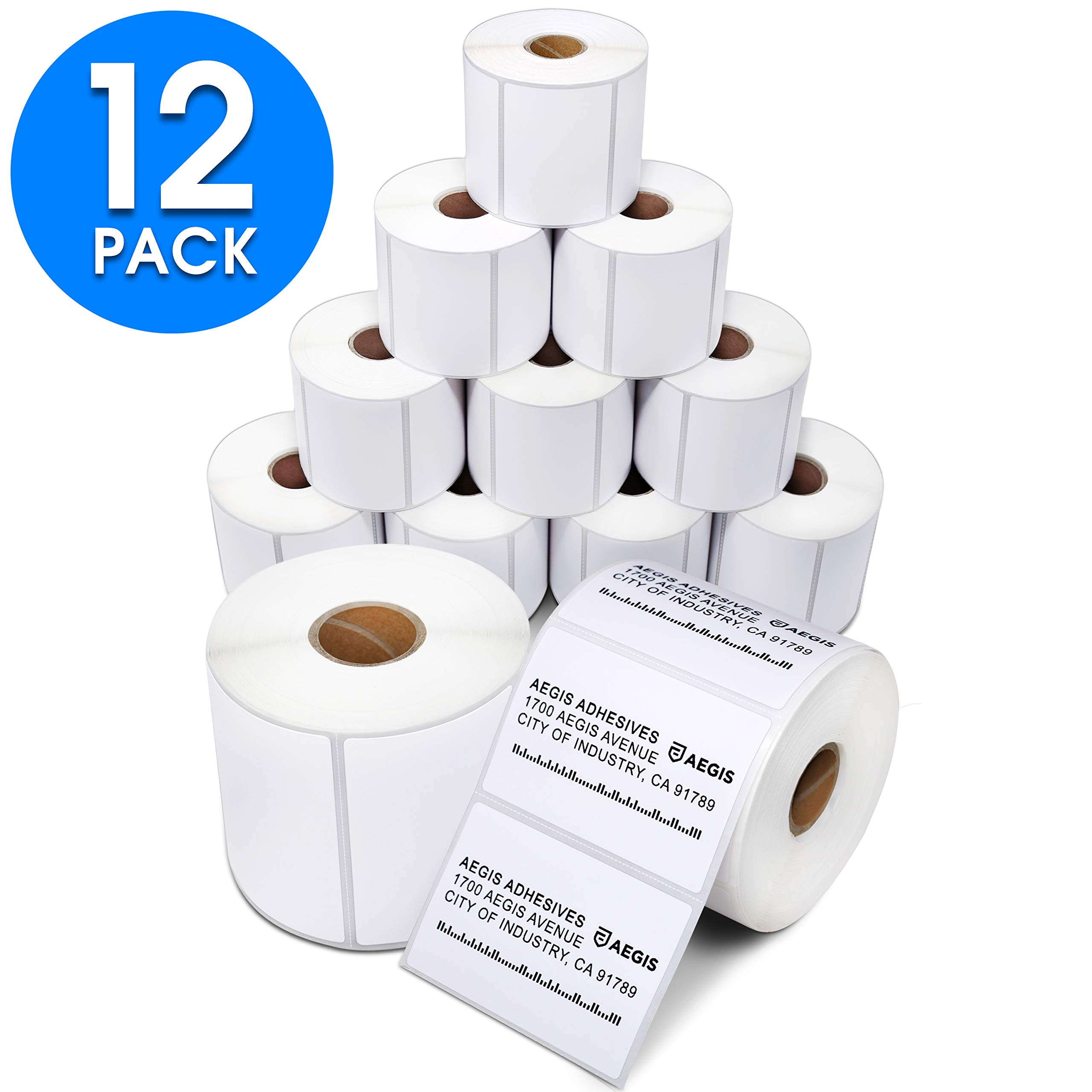 Aegis Adhesives - 3'' X 2'' Direct Thermal Labels for Shipping, Postage, Perforated & Compatible with Rollo Label Printer & Zebra Desktop Printers (12 Rolls, 700/Roll) by Aegis Adhesives
