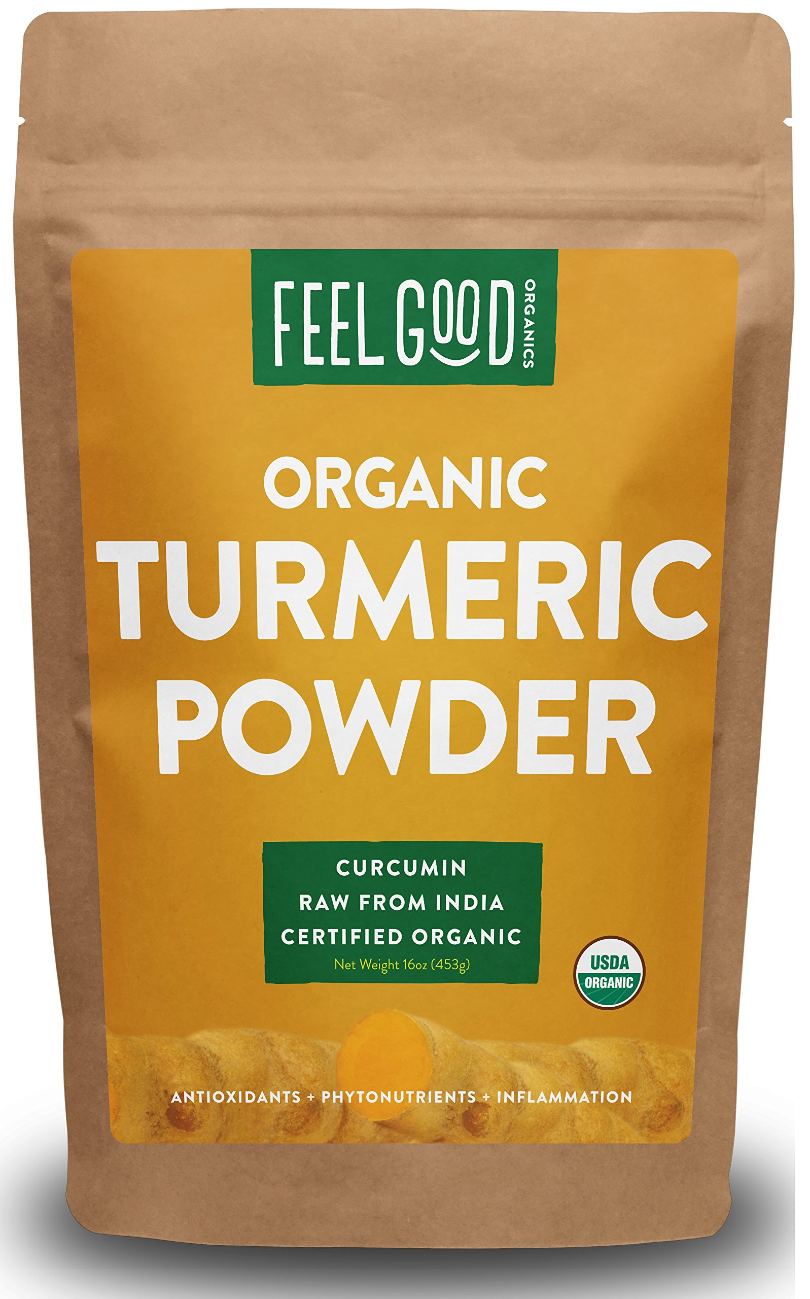 Organic Turmeric Powder - 16oz Resealable Bag (1lb) - 100% Raw w/Curcumin From India - by Feel Good Organics