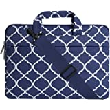 MOSISO Laptop Shoulder Bag Compatible with 15 inch MacBook Pro with Touch Bar A1990 A1707 2019 2018 2017 2016, 14 inch ThinkPad Tablet, Canvas Geometric Pattern Briefcase Sleeve, Navy Blue Quatrefoil