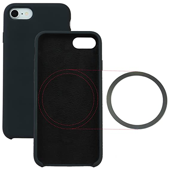 promo code 4348d 5888a Liquid Silicone iPhone 8, iPhone 7 Case with Built-in Ring for Magnetic Car  Charging Mounts, Supports Wireless Charging, Slim, Smooth Finish, Soft ...