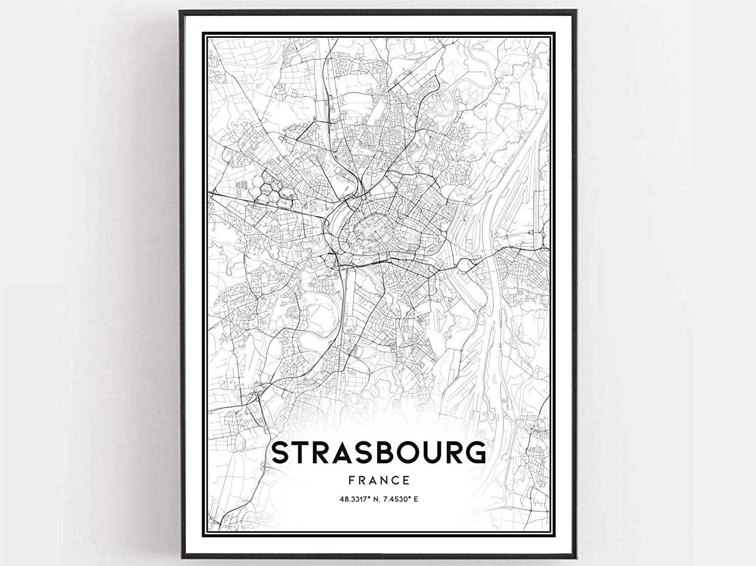 Strasbourg Map Print Strasbourg Map Poster Wall Art Strasbourg City Map Strasbourg Print Street Map Decor Road Map Gift Art Decor