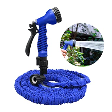 Garden Hose, 50ft Flexible Expandable Expanding Collapsible Garden & Lawn Water Hose with Free 7-Way Spray Nozzle for Car Wash Cleaning Watering Lawn Garden Plants