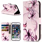 Gostyle iPhone 7 Case,iPhone 8 Leather Wallet Case,Purple Flower Pattern Flip Stand Cover with Credit Card Holder,Soft…