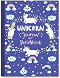 "Unicorn Journal and Sketchbook: Journal and Notebook for Girls - Composition Size (7.5""x9.75"") With Lined and Blank…"
