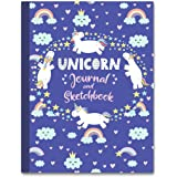 """Unicorn Journal and Sketchbook: Journal and Notebook for Girls - Composition Size (7.5""""x9.75"""") With Lined and Blank Pages, Pe"""