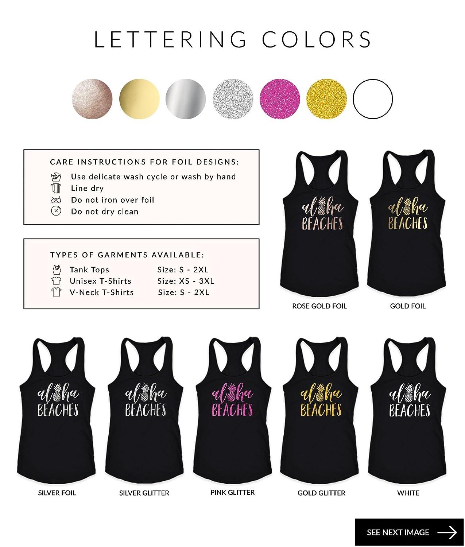 0e08b01d10 Amazon.com: Bachelorette Party Shirts Beach - Aloha Beaches - Aloha Bride -  Pineapple Shirt - Beach Bachelorette Tank Top - Gold Pineapple Tank Top: ...