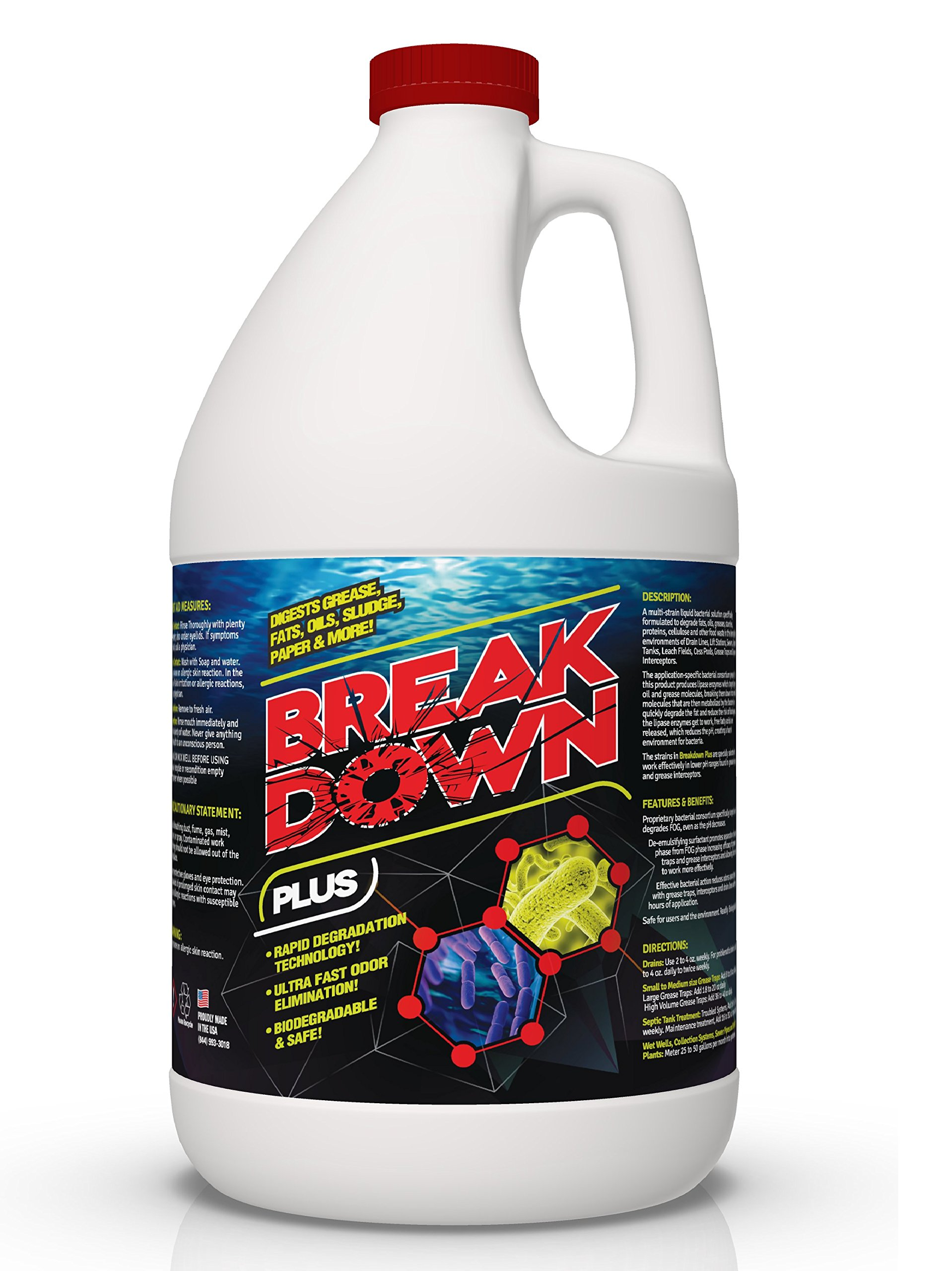 Concentrated Liquid Bacterial ENZYMES - Breaks Down Grease, Paper,Fat & Oil in Drain Lines, Sewer Lines, Septic Tanks, Grease Traps, RV & Boat Tanks & More! Controls Foul Sewer Odors! (1 Gallon)