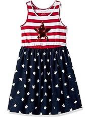 63a62ef9 The Children's Place Girls' Big Sleeveless Graphic Sequence Americana  Flutter Dress