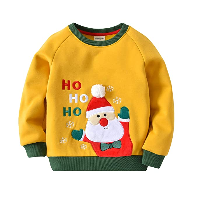 mimiwinga Toddler Baby Boys Christmas Day Santa Claus Crewneck Pullover Sweatshirt Little Kids Sweater Hoodie 3T Yellow