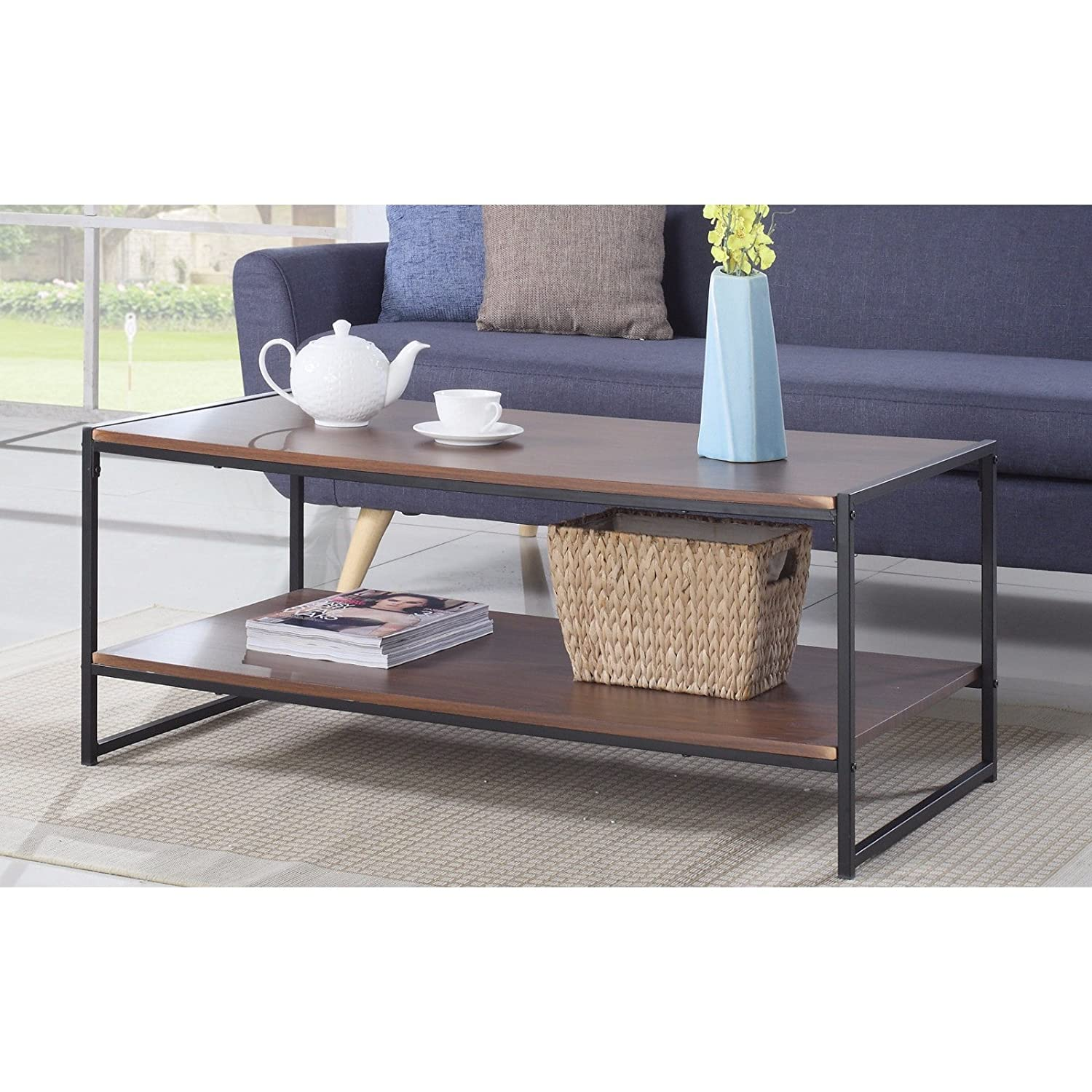 Amazon Modern Rectangular Coffee Table Brown Kitchen