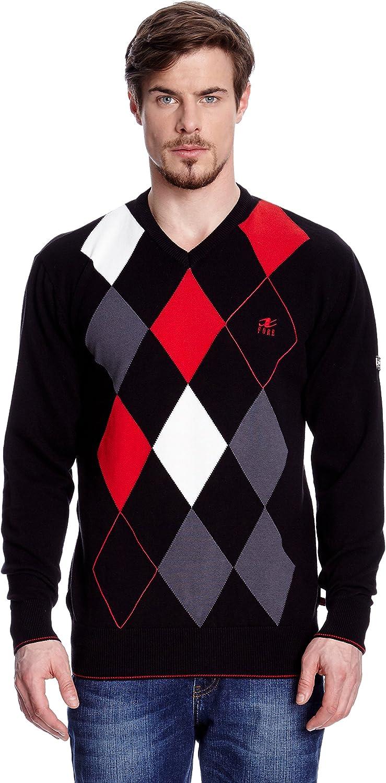 Xfore Jersey de Punto de Golf para Hombre, con Rombos, Cuello Pico, Lyon, Multicolor