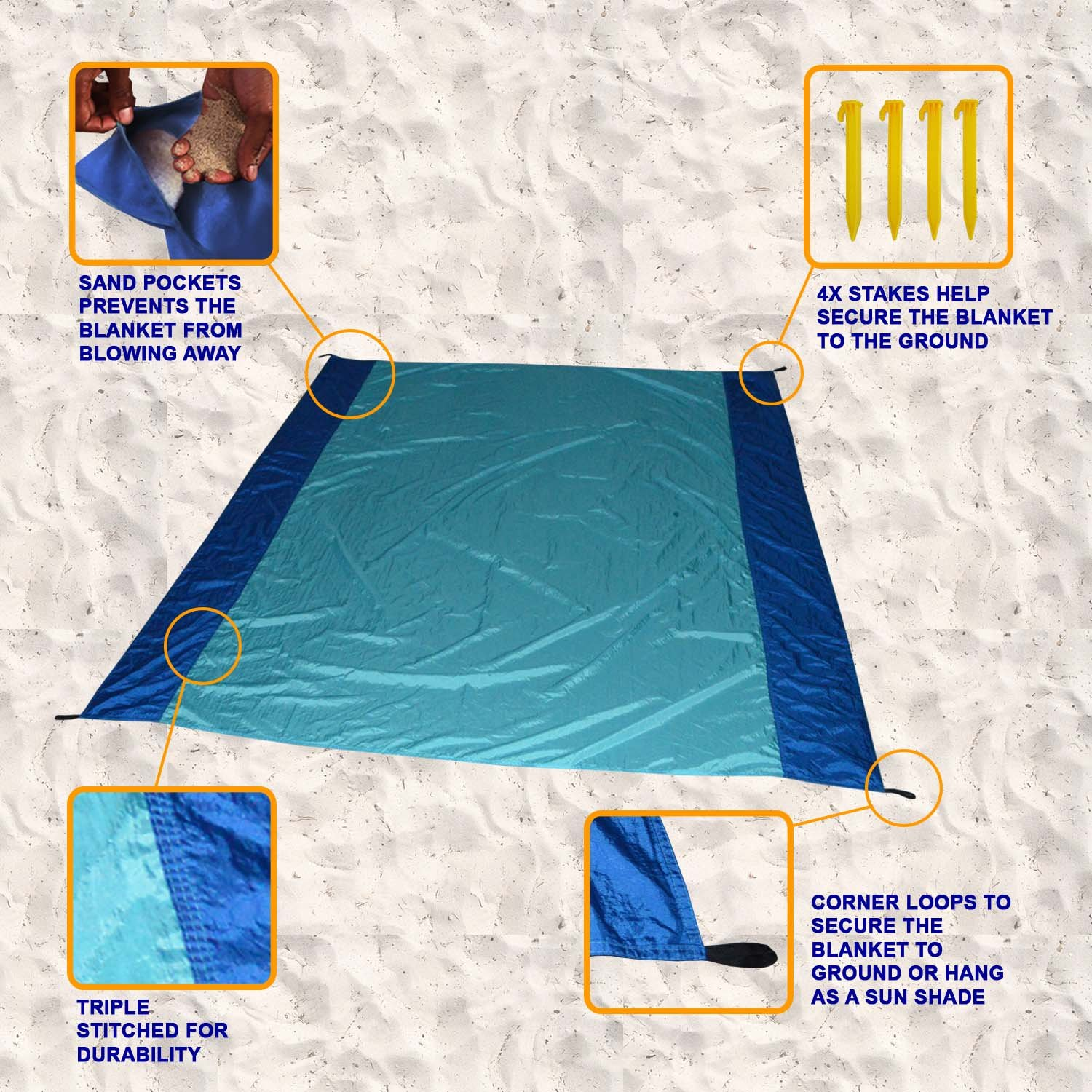 [Pack of 5] Sand Proof Beach Picnic Blanket of Parachute Nylon, works as Shade Tarp Sheet for your Sandless travel escape perfect for drying towel not a black microfiber waterproof or resistant mat by Spencer&Webb (Image #6)