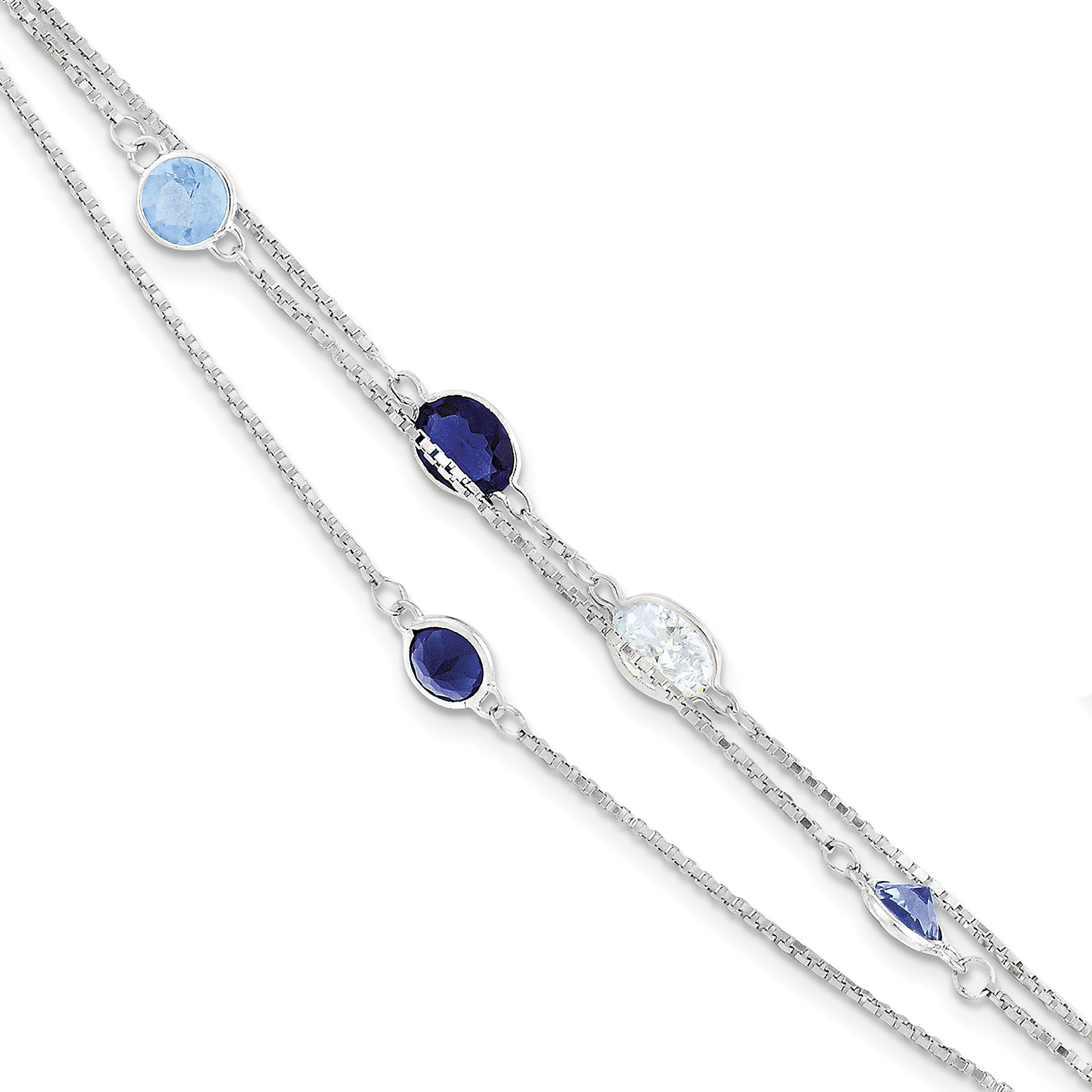 ICE CARATS 925 Sterling Silver Antique Multi Strand Blue/clear Cubic Zirconia Cz Bracelet 7 Inch Chain Multi-str Fancy Fine Jewelry Gift Set For Women Heart