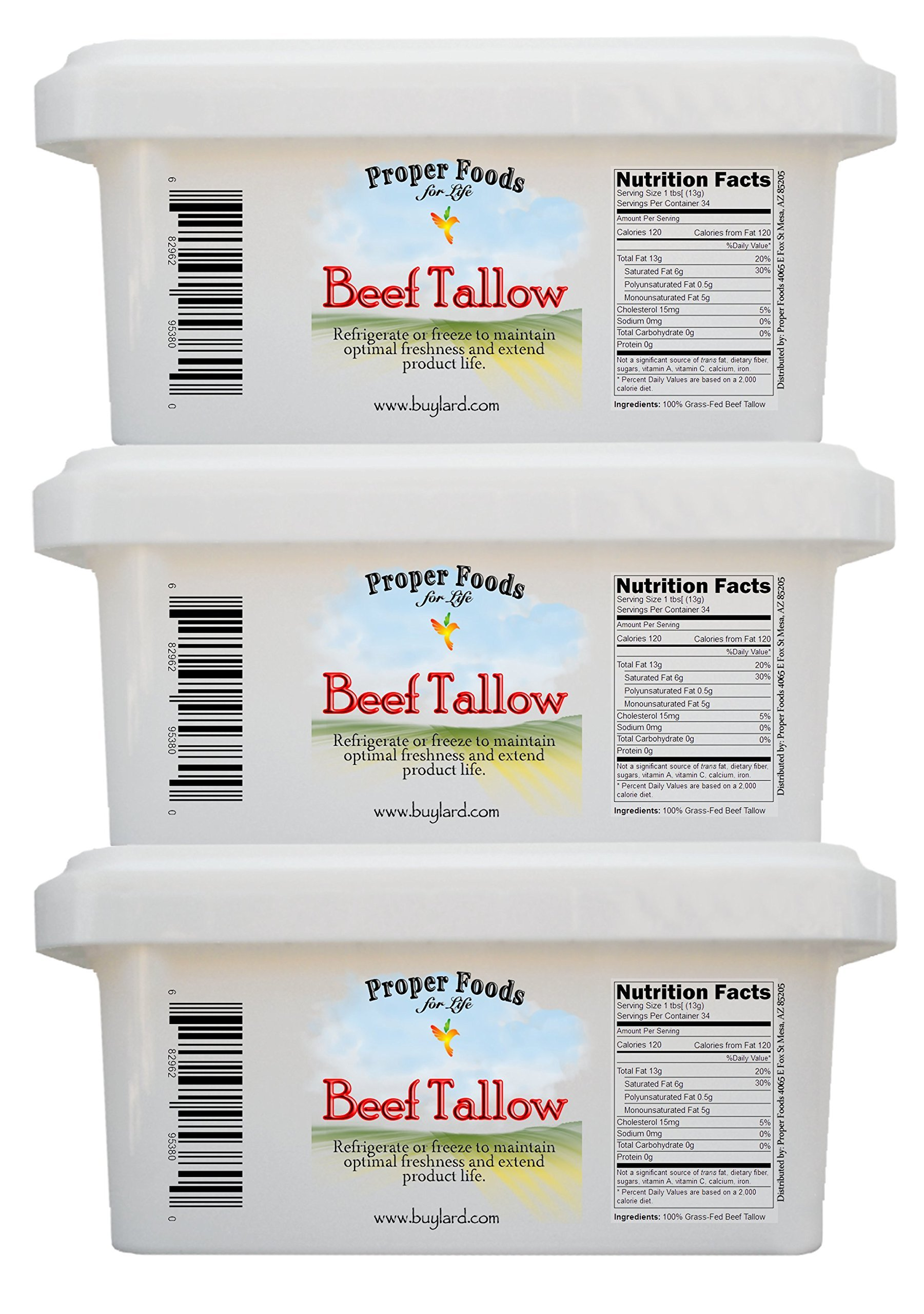 Proper Foods 100% Grass-Fed Beef Tallow, Cooking & Baking, 16 oz (Pack of 3) by Proper Foods For Life (Image #3)