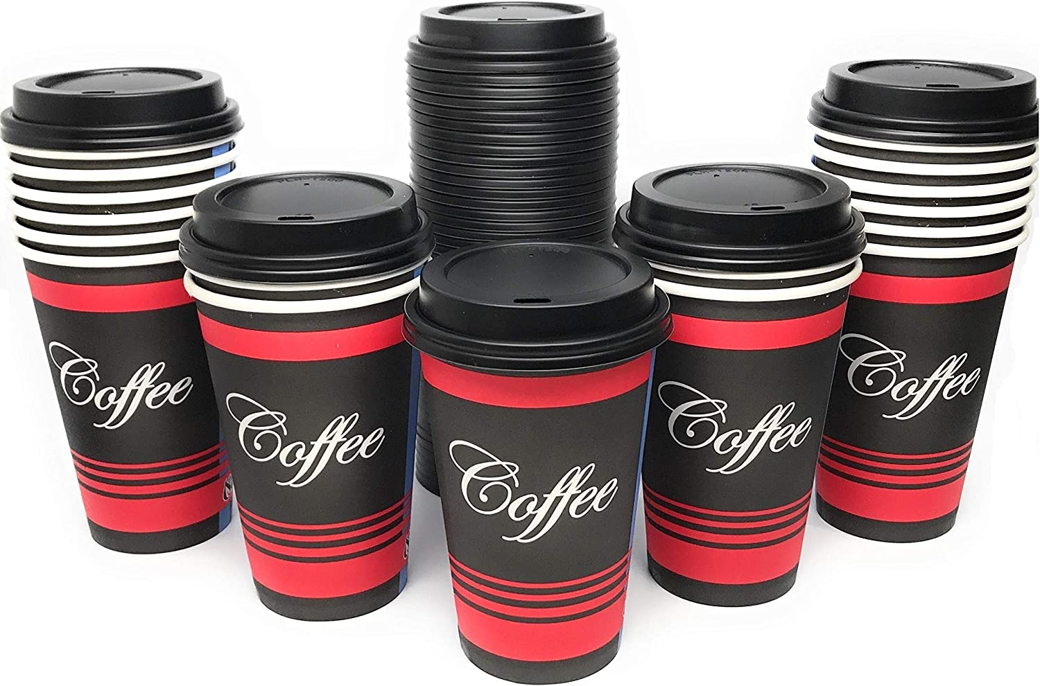Large 16 oz 100 Count by EcoQuality - Classic Durable Disposable Paper Cups & Black Dome Lids For Hot/Cold Drink, Coffee, Tea, Cocoa, Travel - Large 16 Ounce Cups, 100 Count Cups & 100 Black Lids
