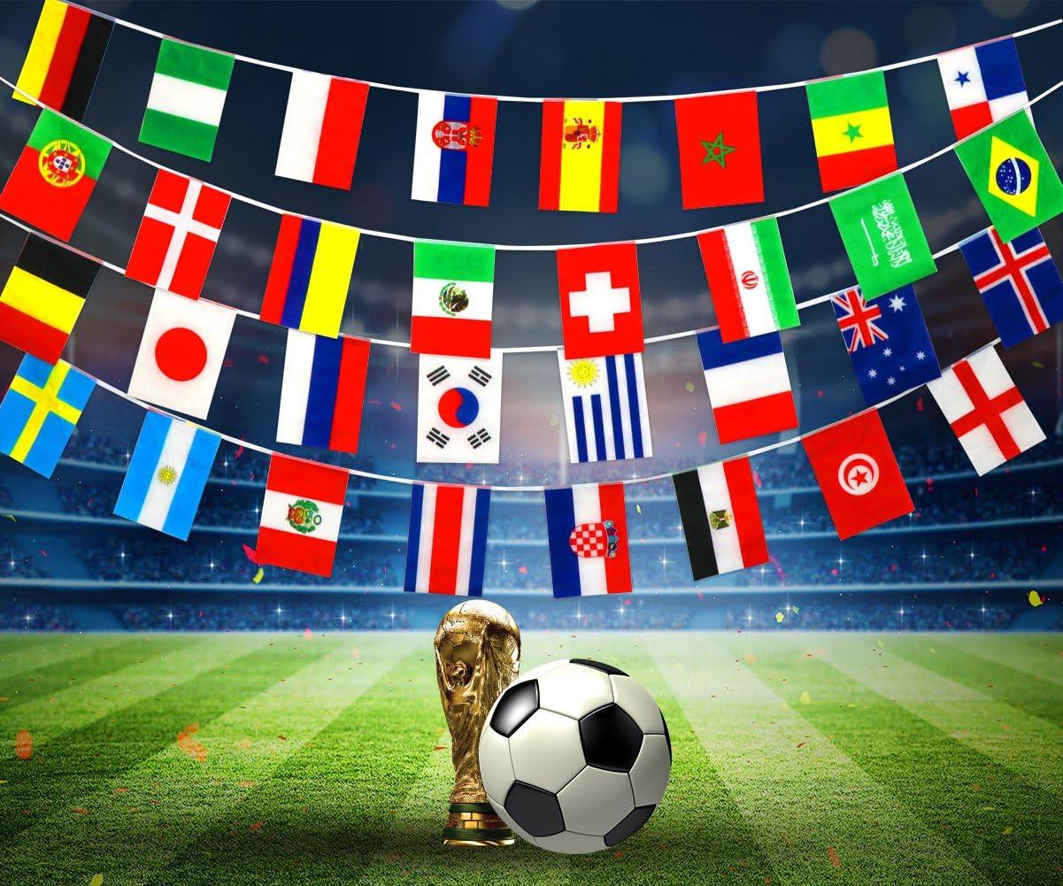SueH Design Copa Mundial De La 2018 32 Países Cadena Banderas Internacional Color Brillante Para Decoración De Fiestas, Aulas, Clubs Deportivos: Amazon.es: Deportes y aire libre