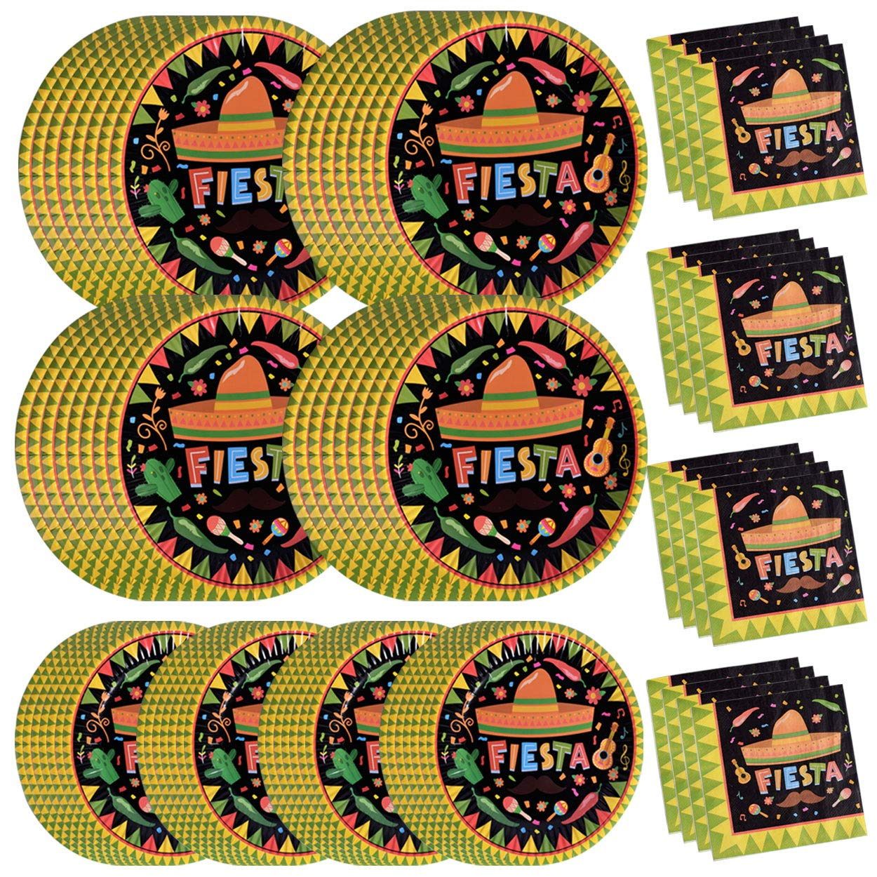 200PCS Fiesta Cinco De Mayo Party Supplies Paper Plates and Napkins Bulk 9 inch 7 inch Dessert Round Disposable Plates Green Eco Friendly Party Tableware Set (for Cinco De Mayo) by Lansian