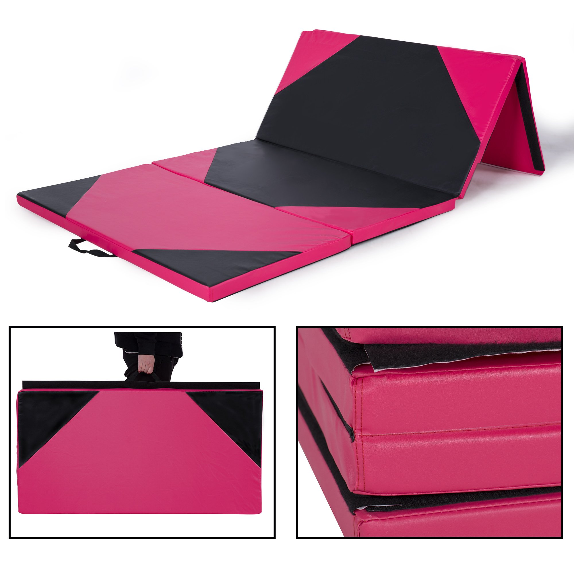 Sportmad 4'x10'x2 Thick Folding Panel Gymnastics Tumbling Mat Gym, Fitness, Exercise (Black/Pink) by Sportmad (Image #2)