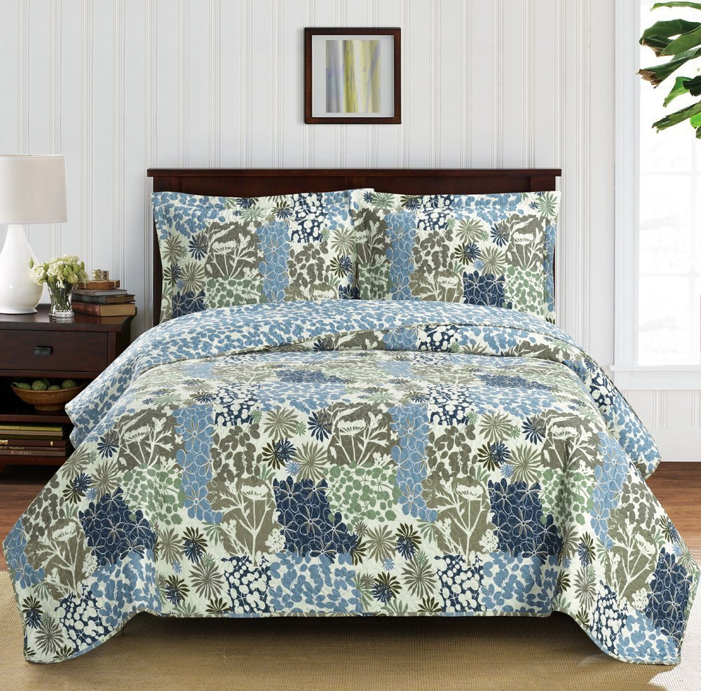 Elena Full Size, Over-Sized Coverlet 3pc set, Luxury Microfiber Printed Quilt by Royal Hotel