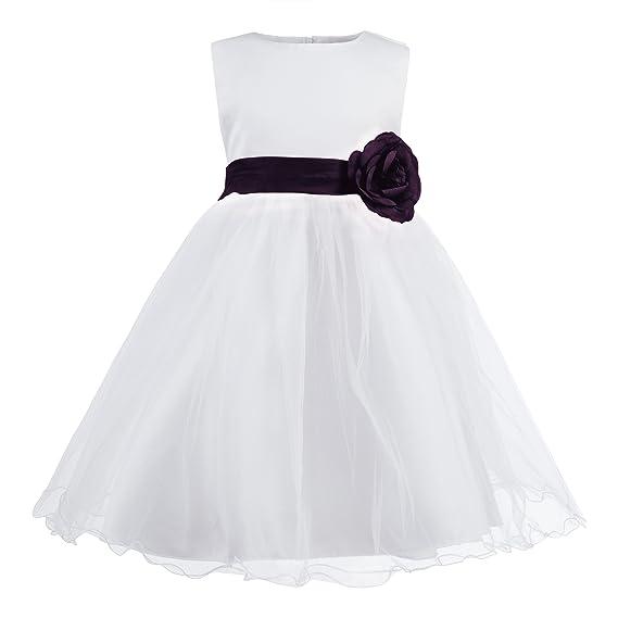 Katara - 1690-14 Festliches Kinder Blumenmädchen Kleid für Hochzeit, Kirche, Feiern mit Blume, Schleife und viel Tüll - Beste