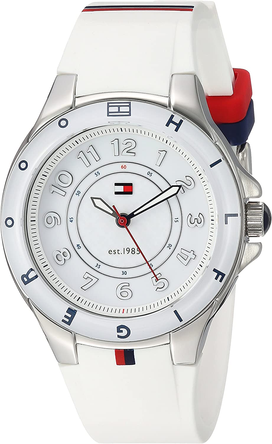 Tommy Hilfiger Womens 1781271 Stainless Steel Watch with White Silicone Band
