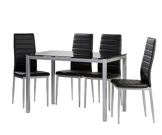 Conjunto de Cocina 4 sillas Negro Irene Mesa Negro 120x70: Amazon ...