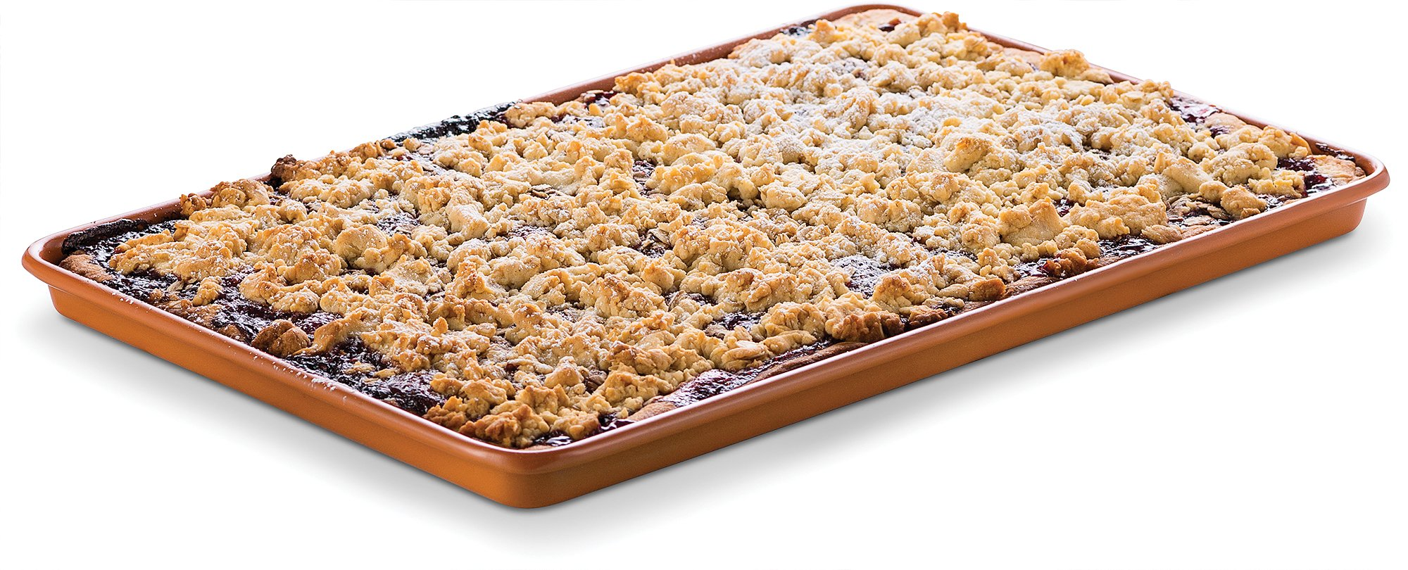 Ceramic Coated Cookie Sheet 17.3'' x 11.6'' - Premium Nonstick, Even Baking, Dishwasher and Oven Safe - PTFE/PFOA Free - Red Cookware and Bakeware by Bovado USA by BOVADO USA (Image #3)